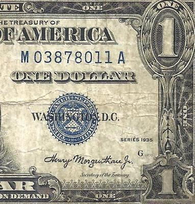 1935 $1 DOUBLE DATE! Scarce **M-A Block** FR.1607 Old US Paper Money!