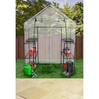 KINGFISHER WALK IN GREENHOUSE COMPLETE WITH 4 SHELVES PLASTIC COVER 196x147x74cm