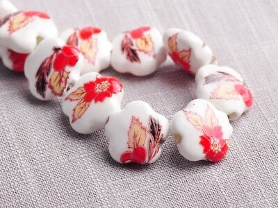 NEW 10pcs 15X6mm Ceramic Flower Shape Spacer Loose Beads Findings Pattern  #12