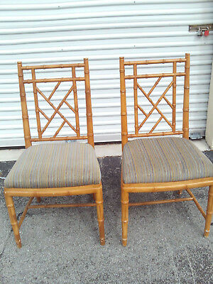Pair Of Vintage Mid Century Chinese Chippendale Dining Chairs
