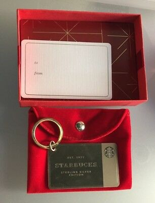 2014 Starbucks .925 Sterling Silver Keychain Card w/ $50 Loaded Limited Edition
