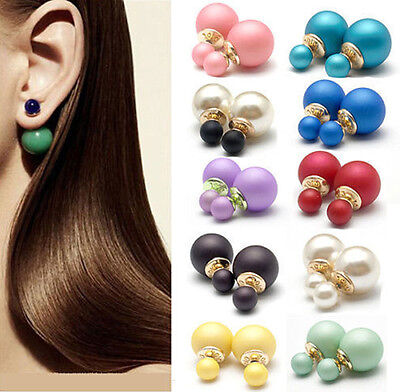 1Pair Women's Double Sided Stud Pearl Front Back Earrings Studs Big Ball Earring