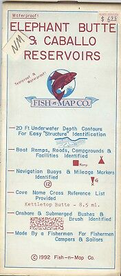 Fish-n-Map Co. ELEPHANT BUTTE & CABALLO RESERVOIRS New Mexico c1992