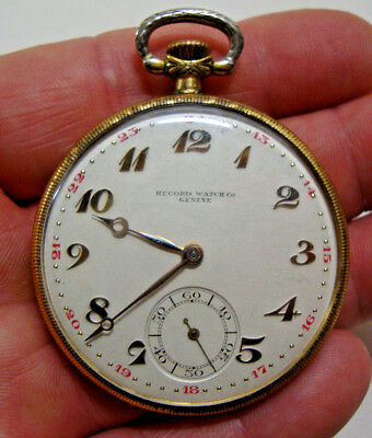 Early 20th century gold plated pocket watch by RECORD WATCH Co GENEVE