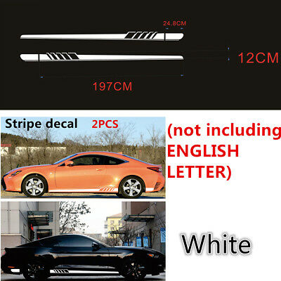 1Pair Auto Body Graphic Stickers Sports Racing Race Car WHITE Long Stripe Decals