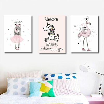 Cartoon Flamingo Unicorn Canvas Art Print Oil Painting Home Baby Girl Room Decor