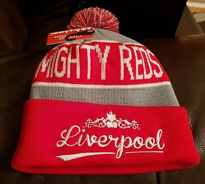 Liverpool Red, Grey and White Bobble Hat - Mighty Reds - Great Xmas Gift Idea