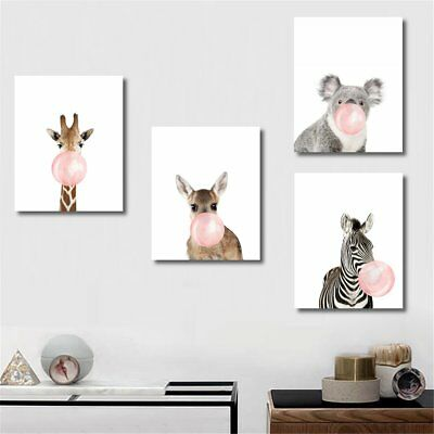 3 Size Funny Koala Bear Zebra Canvas Print Art Painting Baby Room Wall Decor