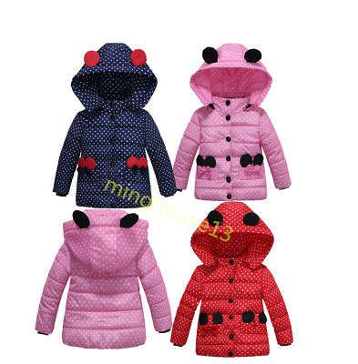 Kids Girls Baby Hooded Outerwear Winter Warm Coat Toddler Cute Cotton Jacket New