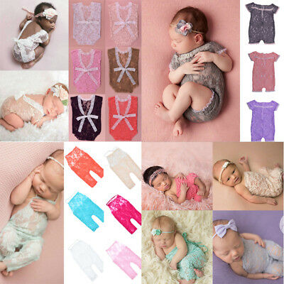 Newborn Toddler Baby Boy Girl Lace Floral Romper Bodysuit Pants Kids Photo Prop
