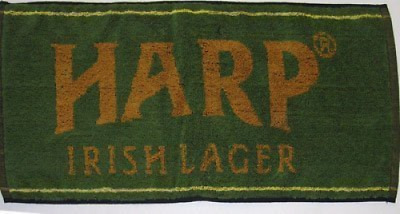 """Harp Lager Cotton Bar Towel 20"""" x 9"""" (pp) wet glass for promotional purpose use"""