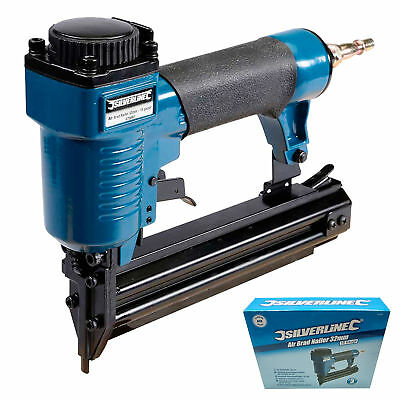 Silverline Air Brad Nailer Nail Gun 32mm Fires 18 Gauge Brad Nails 10-32mm