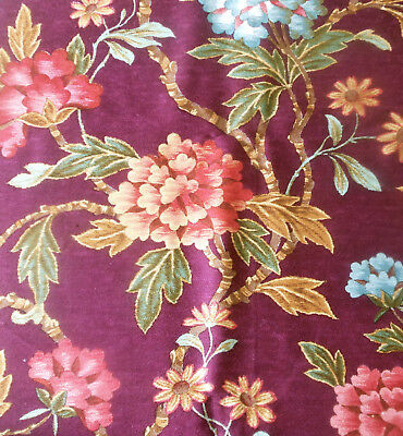Vintage French Tree of Life Indienne Floral Furnishings Fabric ~ Eggplant Rose