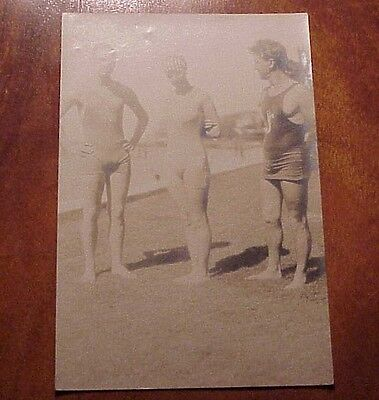 """1910's Mid-Pacific Carnival Swimmers Langer Cowell & . Waikiki TH Hawaii 4"""" x 6"""""""