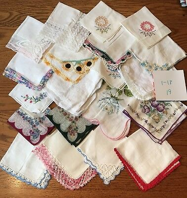 20 Charming Vintage  Hankies Lace Trim Screen Print Embroidery Appliques 1/18-19