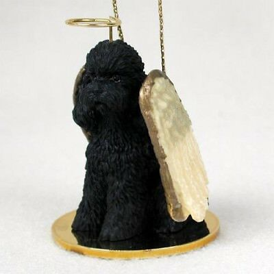 Poodle Sport Cut Black Dog ANGEL Tiny One Ornament Figurine Statue