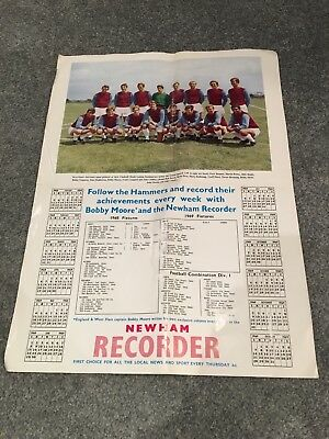 1968/69 West Ham United team picture with fixtures