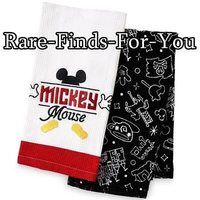 """Disney Parks """"I Am Mickey Mouse"""" with Icons Kitchen Dish Towel 2-Piece Set (NEW)"""