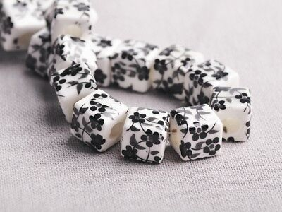 NEW 10pcs 10mm Cube Square Ceramic Spacer Loose Beads Flowers Pattern #6