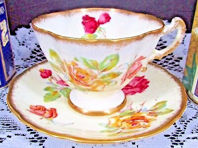 Hammersley Morgan Rose Pink Yellow Sponged Gold Tea Cup And Saucer