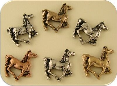 Horse Beads Charms Pendants Pony Canter Jewelry 3T Metal 2 Hole Sliders QTY 6