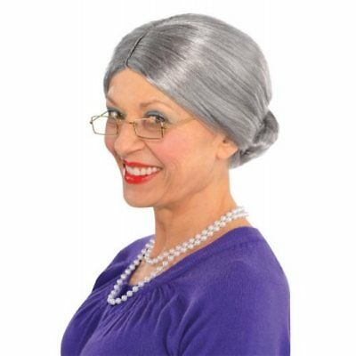 Old Lady Granny Grey White Mixed Grandma Mrs Santa Woman Costume Wig With  Bun 38d9c83bc