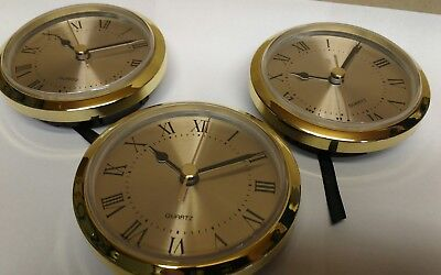 "3-PACK CLOCK  FIT UP brushed brass face ROMAN, insert 3 1/2""x3"" hole, 330RG NEW"