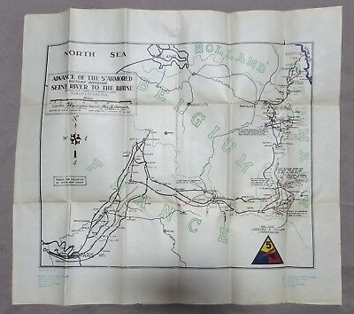 ORIGINAL 1945 Vintage WW2 5th ARMORED DIVISION US ARMY MAP POSTER SEINE to RHINE