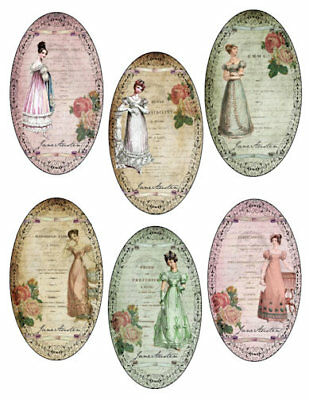 Vintage Image Victorian French Jane Austen Oval Labels Waterslide Decal LAB439