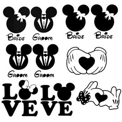 mickey minnie mouse marriage wedding for home wall window decor auto car truck