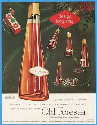 1956 Old Forester Brown Forman Louisville KY CHRISTMAS Raymond Loewy Decanter Ad