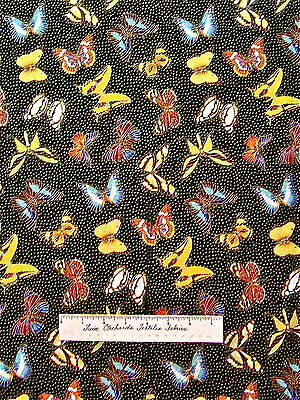 Fabric Traditions - Patty Reed Metallic Butterflies Black Gold Blue Purple Pink