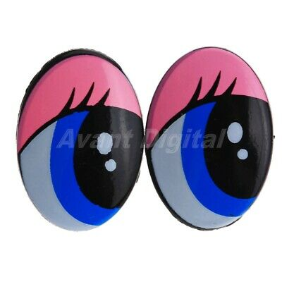 "Cartoon Plastic Safety Eyes Oval for Toy Puppets Doll Making 1""x0.75"" 10/50Pcs"