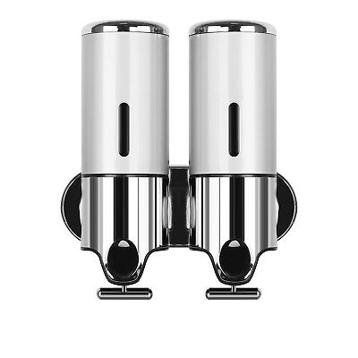 ☆2X500ML Edelstahl Seifenspender Shampoo Spender Seife Dispenser Wandmontage DE☆