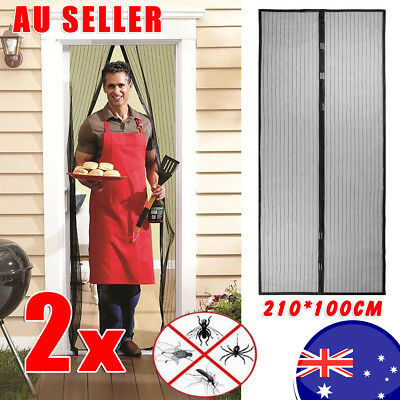 2 x SET Magnetic Door Mesh Black Fly Screen Magic Magna Mosquito Bug Curtain