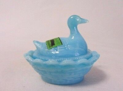 Boyd Glass Duck On Nest Waterloo  Blue Slag Salt Dip Cellar B In Diamond