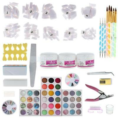 Pro Full Acrylic Liquid Powder Tips Glue Dotting Pen Tools Nail Art Kit Set