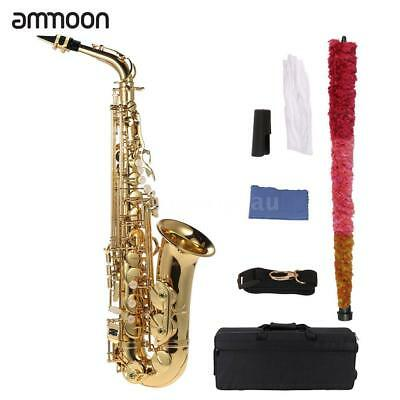 ammoon bE Alto Saxophone Brass Lacquered Gold E Flat Sax 802 Key Type R3P1