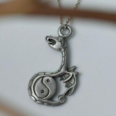 Unique Dragon Yin Yang Silver Pewter Charm Necklace Pendant Jewelry