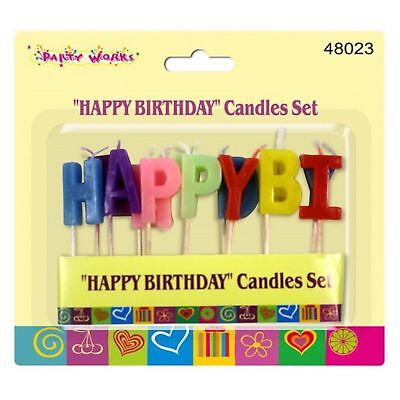 Multi Colour Happy Birthday Letters Candle Set Novelty Party Cake Decoration