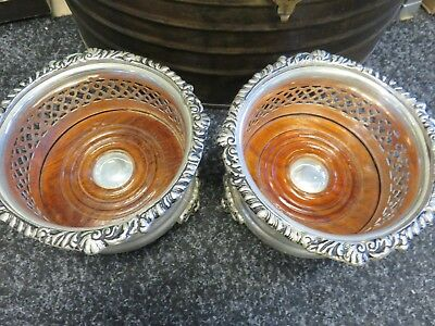 Pair Vintage Silver Plated Champagne / Wine Bottle Coasters