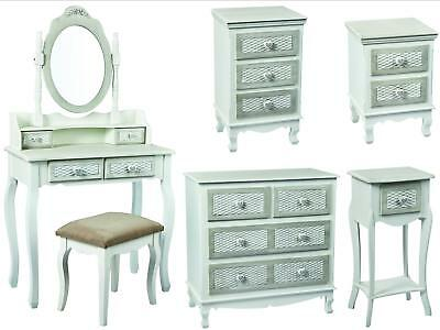 Brittany Grey Shabby Chic Bedroom Furniture with Hearts & Basket Effect Drawers