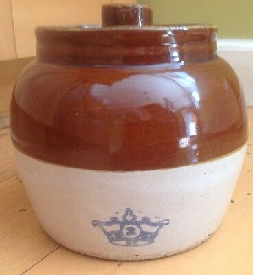 Vintage One Handle ROBINSON RANSBOTTOM Brown Bean Pot #2 Blue Crown with Lid