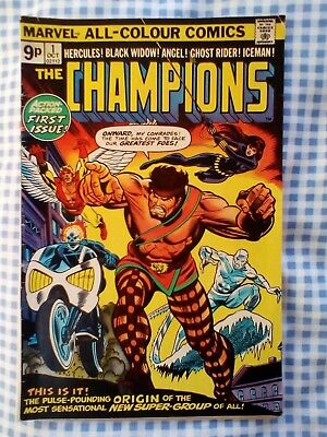 Champions 1 (1975) Angel, IceMan from X-men, Black Widow, Ghost Rider, Hercules