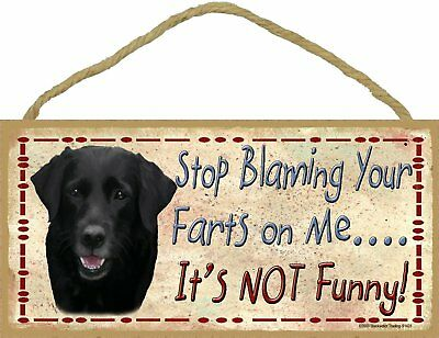 Black Lab Retriever Dog Stop Blaming Your Farts On Me Wood SIGN Plaque USA Made