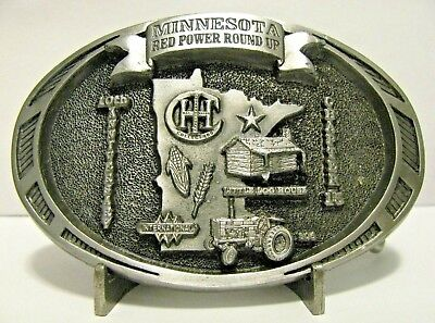 IH International 806 Tractor Log House 1999 Red Power Roundup Belt Buckle #15 MN