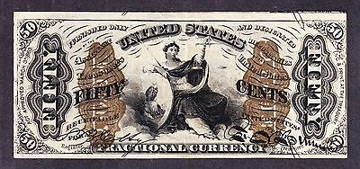 """US 50c Fractional Currency Note Wide Surcharge w/ """"1"""" 3rd Iss FR 1368 XF-AU -001"""