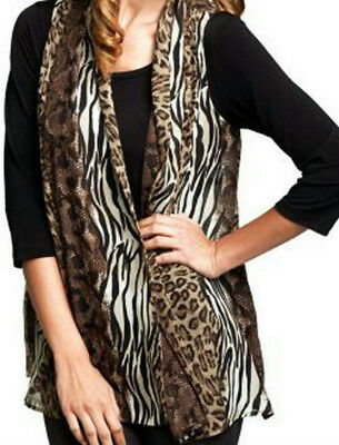 NEW SUSAN GRAVER Printed Sheer Open Front CHIFFON VEST ONLY