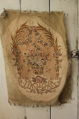 Antique French needlework tapestry needlepoint 19th century textile