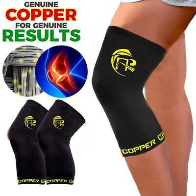 New Knee Recovery Sleeve Copper Compression Joint Fit Support Brace Arthritis S